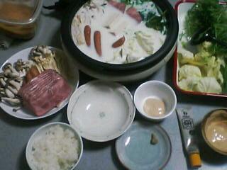 3月29日の夕ご飯:ベーコン牛乳鍋