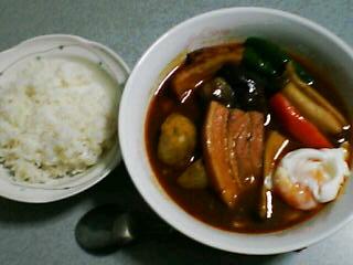 8月11日の夕ご飯:ベーコンと茄子のスープカレー