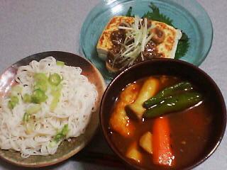 9月18日の夕ご飯:スープカレー素麺