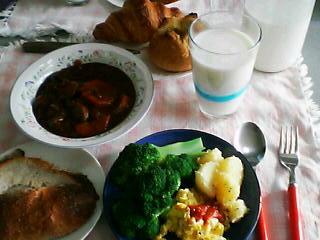 9月27日の昼ご飯?:コワン・鈴木牧場牛乳(大野)