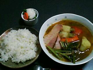 10月20日の夕ご飯:蕪とベーコンのスープカレー
