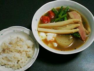 12月15日の夕ご飯:ベーコン・大根のスープカレー