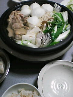 1月18日の夕ご飯:鶏の水炊き