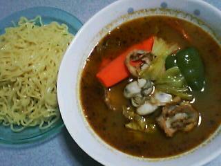 1月28日の夕ご飯:牡蠣と帆立のスープカレーつけめん