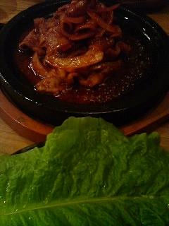 10月25日の夕ご飯:アンさんの店(弘前)石板テジプルコギ