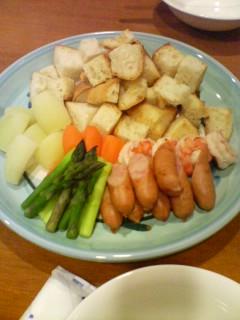 11月27日の夕ご飯:パプリカ(弘前)チーズフォンデュ