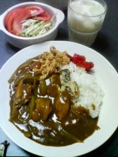 1月14日の夕ご飯:牡蠣ポークカレーライス