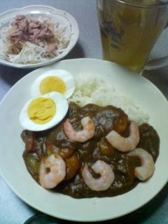 2月21日の夕ご飯:海老ポークカレー